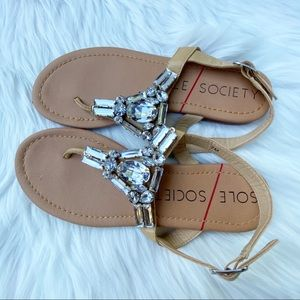 Sole Society Bedazzled Jeweled Thong Sandals